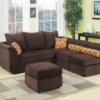 4 pc Caisy collection chocolate chenille upholstered modular sectional sofa with ottoman