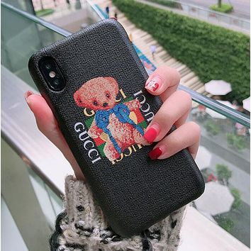 GUCCI Trending Women Men Cute Small Bear Letter Pattern Print Cellphone Case Protective Shell For iphone 6 6s 6plus 6s-plus 7 7plus iphone 8 iphone X Black I12714-1
