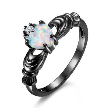 6 Colors Charming Heart Fire Opal Irish Claddagh Rings for Women Jewelry Vintage Black Gold Filled CZ Wedding Crown Ring
