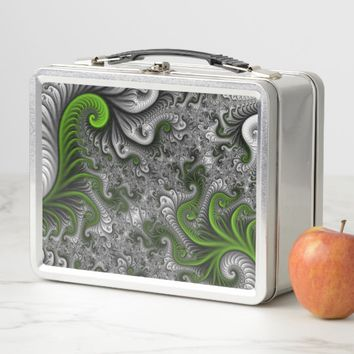 Fantasy World Green And Gray Abstract Fractal Art Metal Lunch Box