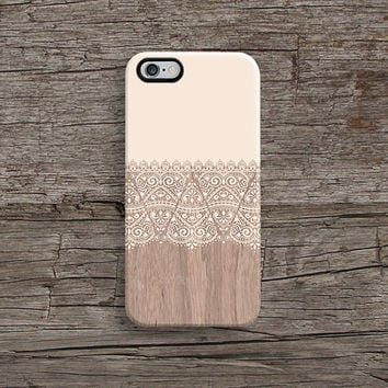 iPhone 6 case, matte iPhone 5s case, iPhone 5C case, iPhone 4s case with cream floral wood pattern, Christmas gift A634