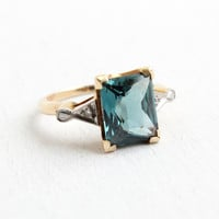 Vintage 10k Yellow Gold Art Deco Blue Stone & Diamond Ring- 1940s Size 6 1/4 Emerald Cut Synthetic Spinel Fine Jewelry