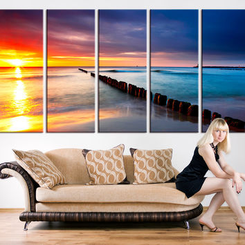 Canvas Art Print - Beach and Sunset  Wall Art Canvas Print, Seascape Canvas Print, Large Wall Art Print, Sunset and Ocean Beach Canvas Print