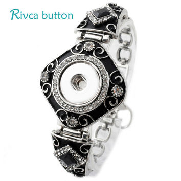 P00715 Neweset Snap Button Bracelet&Bangles Newest Design Chain Antique Silver Plated Vintage Bracelet FIt Snap Button Jewelry