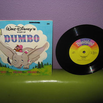 "Vinyl Record Album Disney's Dumbo Book and Record 7"" LP 1968 Children's Classics"