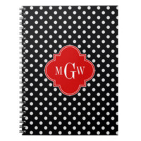 Black White Polka Dots Red Quatrefoil 3 Monogram Spiral Note Book