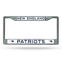 NFL New England Patriots White Chrome License Plate Frame