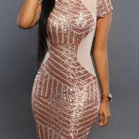 Rose Gold Patchwork Sequin Round Neck Short Sleeve Bodycon Mini Dress