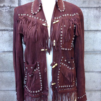 Fringe Leather Jacket 1950s Fringed Suede Brown Coat Chamarra Fleicher Mexico