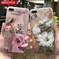 BROEYOUE Case For iPhone 5 5S 6 6S 7 8 Plus X 3D Relief Silicone Case For Samsung Galaxy S7 S8 Edge Plus J3 J5 J7 A3 A5 A7 2017