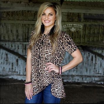 Leopard Hot Or Knot Top By Crazy Train