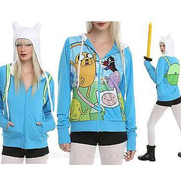Licensed cool Adventure Time with Jake and Finn Costume Hoodie Ears Cosplay REVERSIBLE S NEW