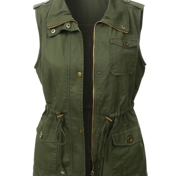 LE3NO Womens Utilitarian Green Anorak Vest