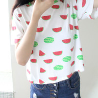 "White ""Watermelon"" Print Short Sleeve Shirt"