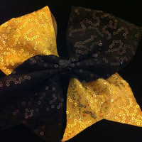 Gold and black sequin cheer bow