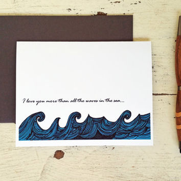 Romantic Anniversary Card for Him - Wife - Husband - Girlfriend - Boyfriend - Fiance Card - Waves in the Sea - 201502020307