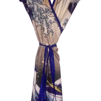 The Great Wave Wrap Dress - Over the Knee Cap Sleeve Japanese Fine Art Print Design