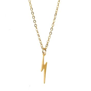 Mini Bolt Gold Charm Necklace