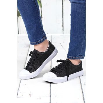 Sparkle + Shine Morgan Glitter Sneakers {Black}