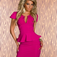 Pink V Neck Cap Sleeve Bodycon Peplum Mini Dress