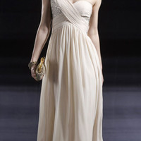 One Shoulder A line Chiffon Sleeveless Floor Length Natural Waist Prom Gowns