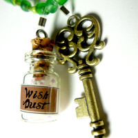 Wish Dust Fairy Dust Fantasy Necklace with Wish Dust Charm and Key Charm