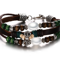 Leather Bracelet for Women Multilayer Charm Bangle Wrap Bohemia,20cm