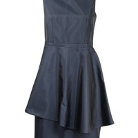 Navy Faille Peplum Dress