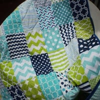 Nautical Baby quilt,navy blue,teal,aqua,lime green,Baby boy bedding,baby boy quilt,Patchwork Crib quilt,chevron,modern,toddler,Nautic Lime