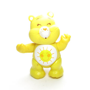 Funshine Bear Vintage Poseable Care Bears Toy Figurine Yellow with Sunshine on Tummy