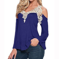 Sexy Off the Shoulder Long Sleeve V Neck Lace & Cotton T-Shirt