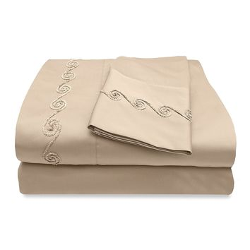 Veratex The Chenille Swirl Collection 100% Egyptian Cotton Sateen 300 Thread Count California King Size Sheet Set With Elegant Stitch Hem Design, Taupe