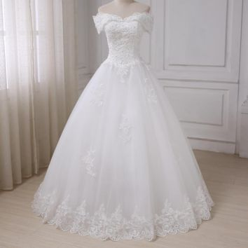 Ivory Wedding Dress Off the Shoulder Lace Applique Floor Length Tulle Wedding Gowns Beading A-line