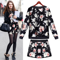 Black Floral Print Sweater With Pair Shorts