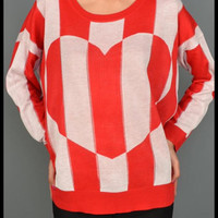 Red stripe heart valentine top | Royce Clothing