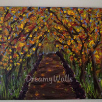 Fall Painting, Fall decor, tree art, nature trail
