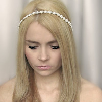 Ivory Bridal Headband.Wedding Hairband.Ivory Hair band. Bridal Head band.Pearl Hairpiece.Pearl Hairvine.