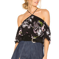 1. STATE High Neck Flounce Sleeve Blouse in Rich Black | REVOLVE