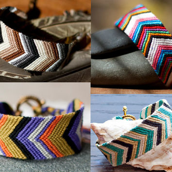 friendship bracelet custom order / 1 wide chevron by thehootinowl
