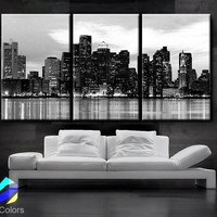 "LARGE 30""x 60"" 3 Panels Art Canvas Print Beautiful Boston skyline Sunset light Wall Home (Included framed 1.5"" depth)"