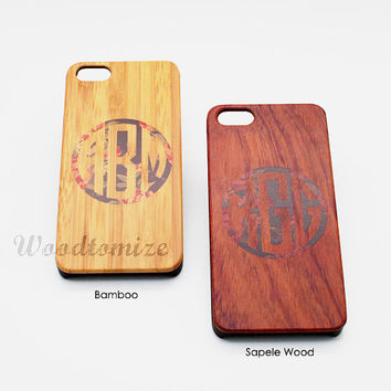 Wood print personalized monogram name case, Real wood, iPhone 5C case, iPhone 5S 5 case, Bamboo, Cherry, Sapele wood, FREE protector [A05]