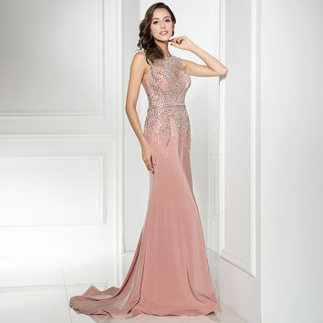 Charming Sexy long Evening Dresses 2017 with Mermaid jewel  Sexy Back Zipper Court Train Floor Length  Sequins Crystal  LX298