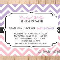 Modern Twins Baby Shower Chevron Printable Invitation DIY 5x7 Purple and Pink