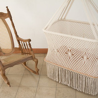 Gorgeous Hanging Cradle in Macrame (with handmade mattress and sheets on request)
