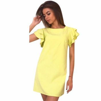 Women Mini Short Elegant Dresses Sexy Backless Butterfly Sleeve Casual derss Summer Fashion Style solid Vestidos Office Lady