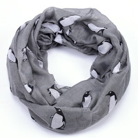 Jaunty Penguin Infinity Scarf in Gray or Bright Rose