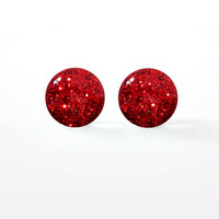 Poison Apple Glitter Resin Studs - Sparkly Ruby Red - Glam Rock - Indie Alternative - Surgical Steel Post Earrings