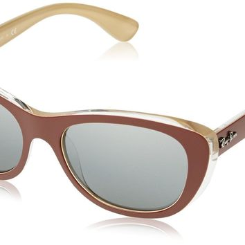 Ray-Ban INJECTED WOMAN SUNGLASS - TOP MAT BROWN ON OCRA Frame GREY MIRROR SILVER