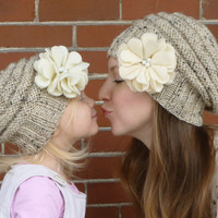 Mommy and Me Matching Knit Oatmeal Hats with Ivory Felt Flower and Pearl Centers - Knit Toddler Hat - Knit Women's Hat