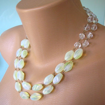 Bridal Statement Necklace, Yellow Wedding Jewelry, Glass Choker, Vintage Bridal, Melon, Primrose, Spring Colours, 2 Strand, 1950s, Chunky
